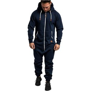 2020 Brand New Autumn Winter One Piece Men's Jumpsuit Overall Solid Color Zipper Closure Hooded Drawstring Romper with Pocket
