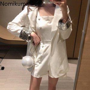 Nomikuma elegante chaqueta de 2 pedazos Mujeres lentejuelas Traje color sólido doble de pecho Moda PLAYSUIT coreanos Nueva vestimenta 3a791