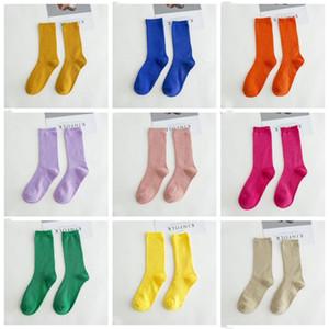 Носки чулки сплошные цветные конфеты носки осень зима колена высокие носки мода ноги носок нижнее белье носок взрослый случайный мягкий чулок GWC2597