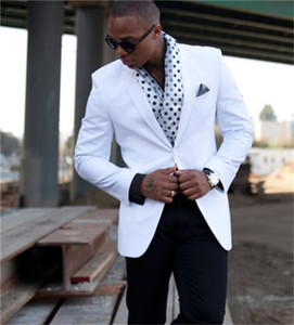 Single Breasted White 2 Piece(Blazer+Pants)Slim Men Formal Suit Groom Wedding Tuxedo Custom Prom Wedding Business Men Suit