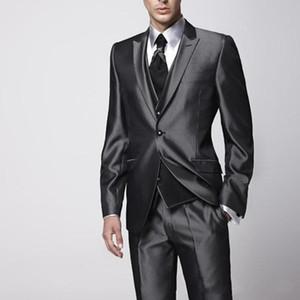 Abiti da uomo Blazer Blazer Blotty Black Black Single Button Business Suit (Cappotto + Vest + Pants) Abito sottile personalizzato