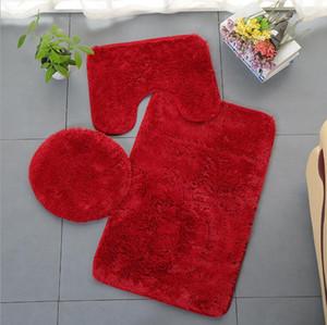 Non-Slip Bathroom Bath Mat Set Toilet Rugs Plush Anti Slip Shower Carpets Set Home Toilet Lid Shower Room Floor Mats 11Colors SEA DDC5087