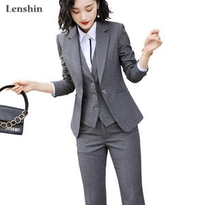 Lenshin Women Quality Suit Set Office Ladies Work Wear Women OL Pant Suits Formal Female Blazer Jacket Vest trousers 3 Pieces