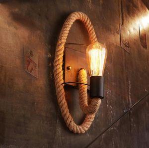 Настенная лампа промышленные старинные веревочные светильники для гостиной спальня бар декор E27 дома лофт ретро железные светильники