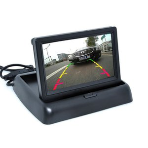 4.3-inch folding car monitor LCD high-definition screen with intelligent display and two video inputs for reversing priority