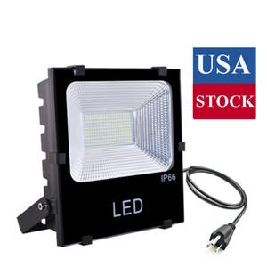 USA Archivio 4 Pack 100W LED Flood luce esterna, 10000LM Super Light brillante lavoro con la spina, IP66 impermeabile proiettori esterni