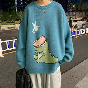 Dinosaur sweater men's autumn Korean version loose trend versatile personality T-shirt Hong Kong fashion brand casual sweater