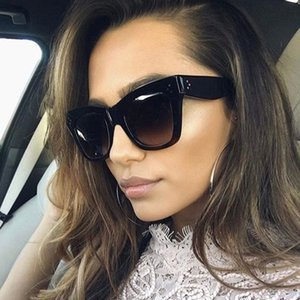 Luxury Women Brand Designer Leopard Print Cat Eyes Summer Style Oversize Frame Top Quality Sunglasses Coating Lens Fashion Summe
