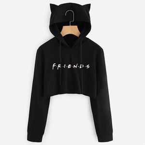 Automne Hiver FRIENDS Lettre Imprimer Femmes Sweat-shirts Crop Harajuku Best Friends TV Crop Top à manches longues à capuche overs