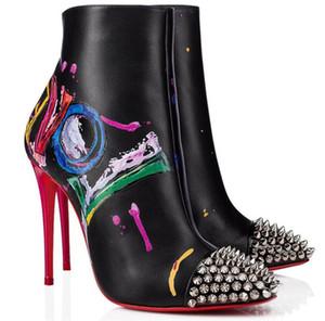 Inferiore rossa stivali di pelle Love Is graffiti delle donne famose di inverno Lug Sole Stivaletti alta qualità Marchi Red Sole Booties festa di nozze