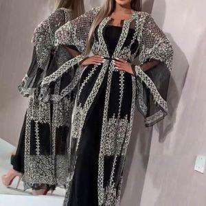 2020 Абая Дубай Мусульманский платье высокого класса Блестки Вышивка Кружево Рамазан Кафтан Ислам Кимоно Женщины Турецкий Ид Мубарак