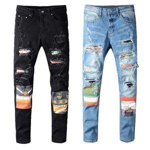 Hombres Jeans New Fashion Stylist Black Blue Jeans Skinny Ripped destruido Streted Slim Fit Hop Hop Pantalones con agujeros para hombres