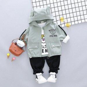 HYLKIDHUOSE 2020 Outono Criança Vestuário Infantil Define Suits Bebés Meninas Roupas Casacos T Shirt Calças Crianças de férias Costume zPVP #