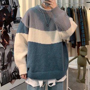 Patchwork Thick Knitted Autumn Winter Casual Sweater Pullover Men Lazy Loose Student Top Outerwear Korean Style Male Jumper 0927