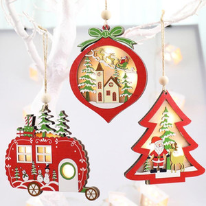 Lighted Wooden Ornament Hollow Glitter Pendant Xmas Tree 2020 Christmas Car Star Shaped with LED Light