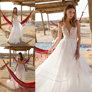 Asaf Dadush 2020 Bohemian Wedding Dresses Sexy Spaghetti Straps Backless Lace Bridal Dress Beach Chiffon A Line Wedding Gowns
