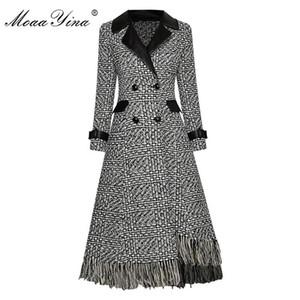 Moayina Fashion Woolen Pload Plaid Giabbio Giabondo OverCoat Autunno DOPPIO BRESETTO ASYMMETAR TADONE ASYMMETAL SOCCETTO A MANICA LUNGA