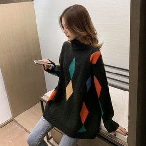 Multicolor Turtelneck Sweater Women Fall Soft Cotton Loose Knitted Hot Tide Thick Winter Korean Casual Simple Chic Tops