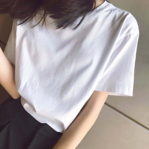 2020SS Frühling und Sommer Neue hochwertige Baumwolldruck Kurzarm Rundhals Panel T-Shirt Größe: M-L-XL-XXL-XXXL Farbe: Schwarz Weiß XV44V