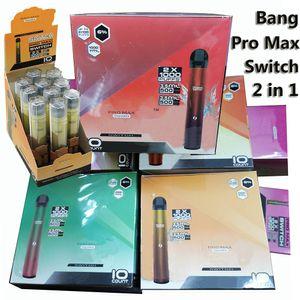 Bang Pro Max Interruptor Disparable Vaes 2 em 1 Cigarro Eletrônico 2000 Puffs Dual-FLA Descartável E-Cigs Bang XXL 2IN1 Dispositivo 5 Combinação