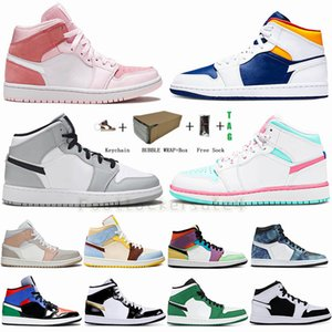 Jumpman 1 Mid Pink Digital Light Smoke Grey Royal Blue OBSIDIAN Candy Tie Dye 1s Basketball Shoes For Men Women Sneakers Trainers 36-47