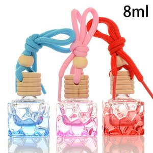 8ml Empty Glass Perfume Hang Bottle Cosmetic Essential Essence oil Container Wooden Plug Car Hanging Free Shipping