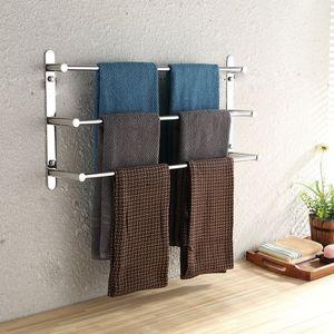 SUS304 Stainless Steel Hand Polishing Mirror Polished Finished Bathroom Accessories Set Towel Rack Three Towel Bars