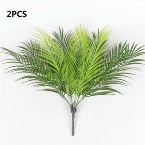 2 PZ 9 Big Plastic Iron Trees Artificiale Fern Fern Bouquet foglie di Palma Verde Falso Plastica Piante di plastica Forniture per la casa