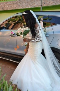 Mermaid Wedding Dresses Sheer Neck Long Sleeve Open Back Lace Beaded African Bride Gowns Custom Plus Size Bridal Gowns vestidos
