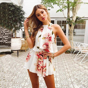 Floral Print Outfits for Women Sexy Two Piece Set Top and Pants Halter Off The Shoulder Fashion Summer Bohemia Beach Clothing