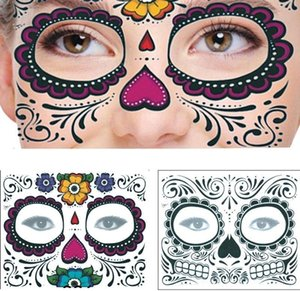 Halloween Party Disposable Eyeshadow Sticker Magic Eye Face Lace Style Waterproof Temporary Tattoo For Makup Stage