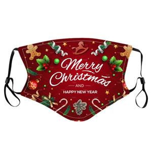 Christmas Party Masques Enfants Lavable réglables Masques de protection Visage de Noël flocon de neige Père Noël bonhomme de neige imprimé bouche masque couverture