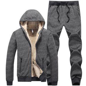 Winter dicke warme Fleece-Trainingsanzug-Männer-Sets 2-teiliger Kapuzenjacke + Spurhose Casual Sportswear Sweat Suits L-5XL