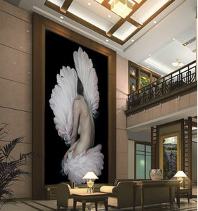 Custom Any Size 3D Wallpaper HD Animal Head Half-Naked Beauty Indoor Porch Background Wall Decoration Mural Wallpaper