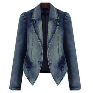 Sisjuly Dark Blue Denim Jacket Coat Women Spring Winter Plus Size Punk Motorcycle Office Lady Work Short Outerwear Jeans Coats 201021