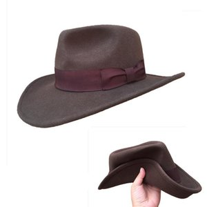 Cloches Brown Crushable Cowboy Fedora Hats Indiana Jones Outback Hat -Simple Package1
