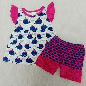 Мода бутик девочка детская одежда синий кит летающий рукав платье детская одежда девочка дизайнер одежда рыб масштаб шорты