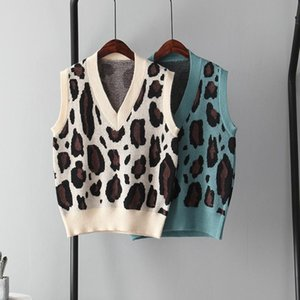 Fall 2020 Leopard Sweater Vest Women Knitted Sleeveless Tops V-neck Slim Vest Fashion Clothing womens winter clothes 2020