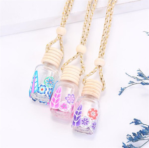 Polymer Clay Essential Oil Bottle Car Perfume Bottle Car Home Hanging Rope Empty Perfume Bottle With Wooden Lid
