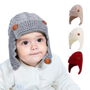 Button kids knitted hat autumn winter children wool hat children lovely winter outdoor warm baby ear muff hat CYF4543-2