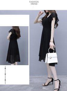 2020 summer wear new temperament fairy maiden minority first love skirt long women show thin black dress