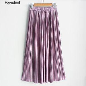 Hermicci 2018 estate pieghettata a pieghe-lunghezza maxi gonna lungo vintage donne skirt metallico1
