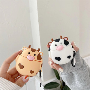 3D Cute Dairy Cow For Airpod Case with key chain Luxury For Apple Airpods pro 2 1 Wireless Protective Earphone Cover Chaging Box