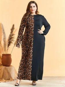 Allentato oversize Dress Plus Size manica lunga con stampa leopardata Patchwork maxi abiti lunghi abito musulmano turco arabo