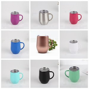 12oz Egg Cups With Handle 12oz Coffee Mugs Stainless Steel Tumblers With Lids Double Layer Insulated Cup Tumblers SEA SHIPPING RRA3765