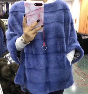 BFFUR 2020 Real Coat Women Full Pelt Natural Jacket With Zipper Luxury Fur Ponchos And Capes Woman Outwear
