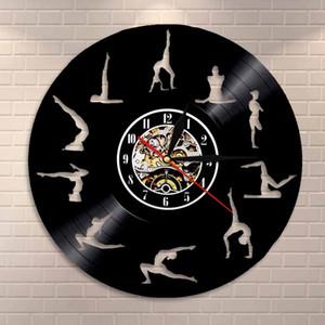 Studio de yoga Horloge murale gymnastique Disque Vinyle Horloge murale méditation Zen Modern Design décoratif Montre bracelet
