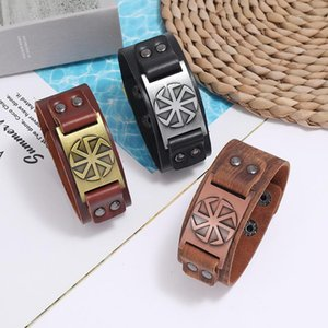 Genuine Wide Leather Punk Bracelet Mens Braided Rope Alloy for Men Women Viking Charm Bracelets Jewelry Gifts1