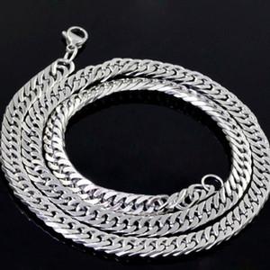 Classic Mens Jewelry Silver Tone Silver Steel Bling Curb Cadena Collar o Pulsera 10mm 7in-40in