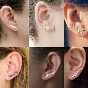 Women Simple Metal Geometric Star Earrings Ear Studs Cuff Clip Fashion Punk Gold Color Leaf Jewelry Piercing Earring Accessories